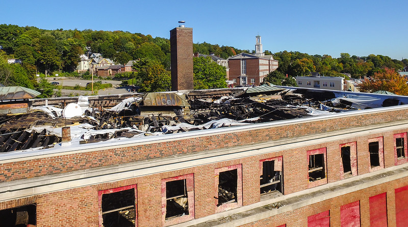 The aftermath of the September 26, 2016 fire at the B.F. Brown School on Academy Street, as seen on October 5, 2016. SENTINEL & ENTERPRISE / Ashley Green