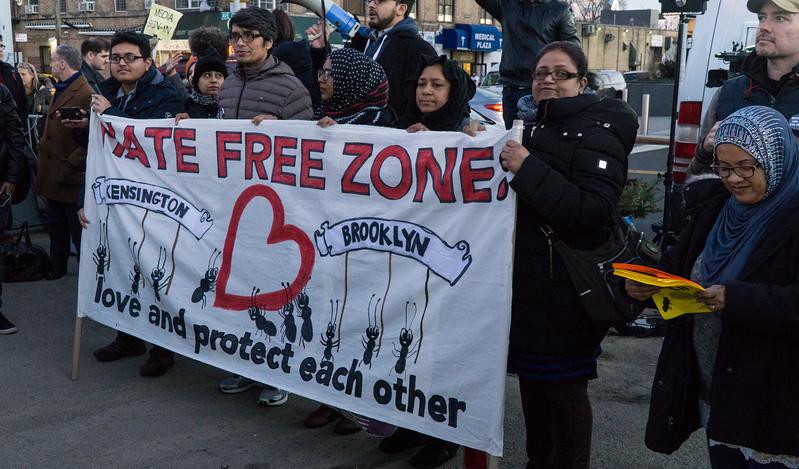Rally partiicipants in Kensington.