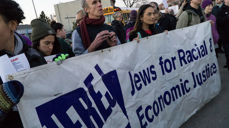 Members of JFREJ, Jews for Racial & Economic Justice, co-sponsored the rally. The Trump election has solidfied unity between the Jewish and Muslim communities.