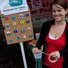 Melissa promoting button sales at the Brooklyn Pride Fair in Park Slope on June 11, 2011.