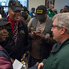 Eric Shtob of Brooklyn For Peace chats with Vietnam veterans.