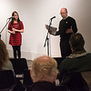 "Melissa Corbett and Rev. Tom Martinez perform a ""conversation"" on the war abroad."""