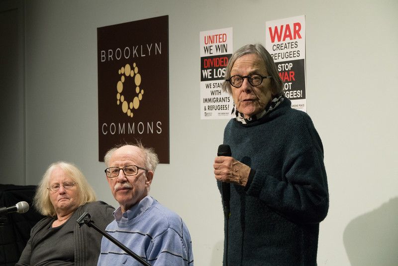 The evening's first speaker, Molly Nolan, described the activities at NYU, including pressure on the administration to insure that the school becomes a sanctuary for immigrants and refugees who might be victimized by the incoming Trump regime. She said that similar activity is taking place on many college campuses.