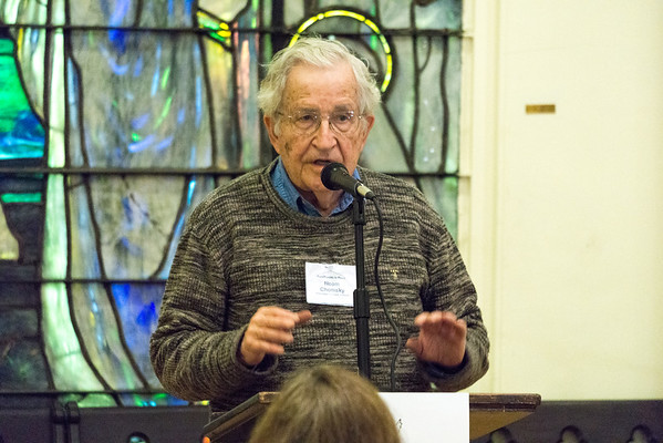 Noam Chomsky spoke and then took questions from the guests.