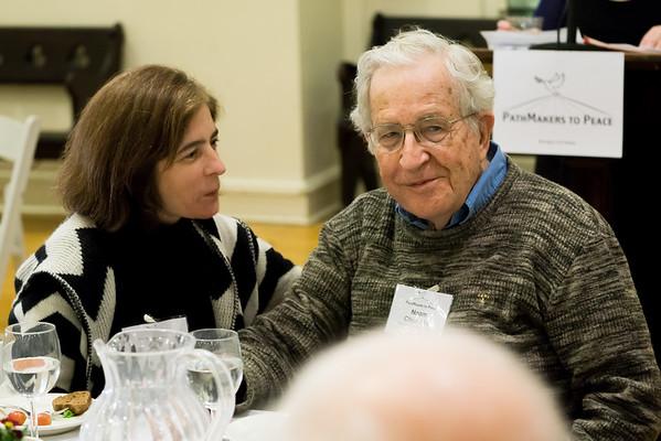 The evening's honoree, Noam Chomsky and his wife, Valeria Wasserman Chomsky.
