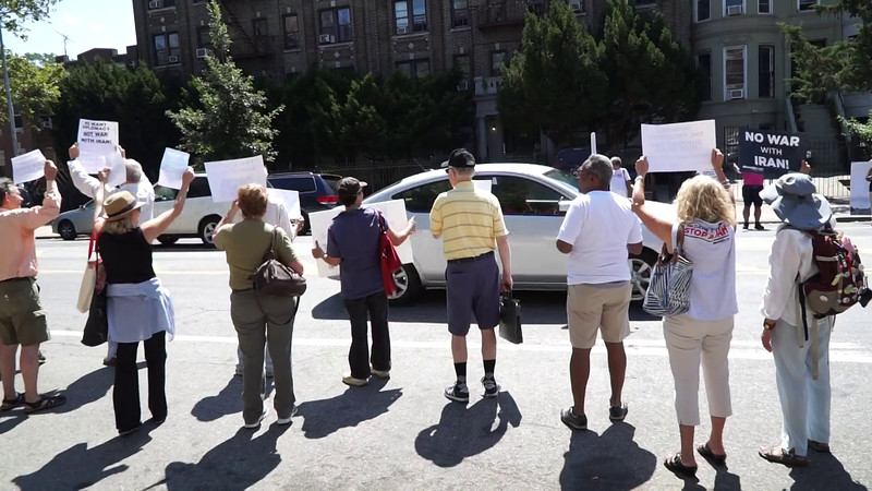 ► PRESS ► PLAY (above) for a short video!<br /> <br /> Passing drivers honk their horn in solidarity  and agreement with the rally in front of Yvette Clarke's office demanding support for peace and diplomacy with Iran.
