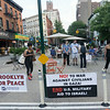Day Two: Banners alert passing motorists and walkers to the vigil in Fort Greene.
