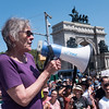 Brooklyn For Peace's Molly Nolan addressed the rally and gave a detailed history of U.S. aggression against North Korea, explaining how the U.S. carpet bombed the country during the Korean War, virtually flattening it. They also, she said, threatened to attack it with nuclear weapons.