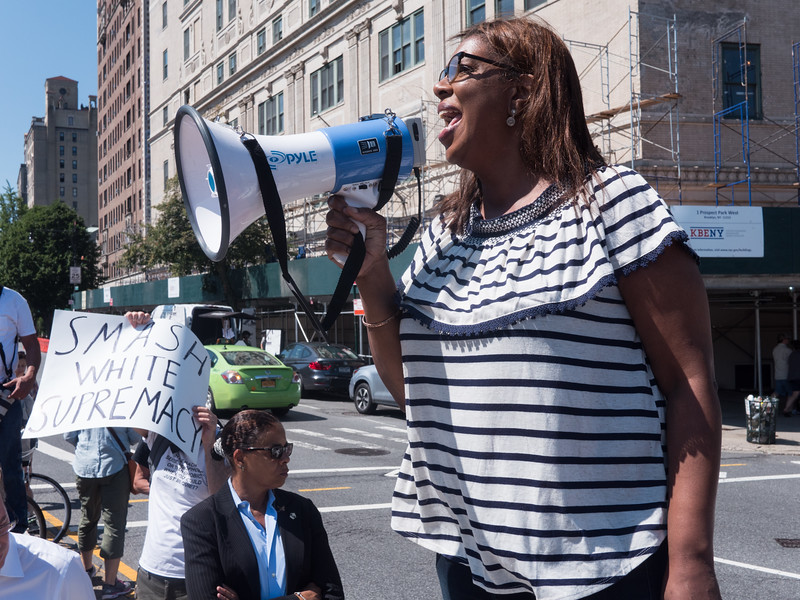 NYC Public Advocate, Tish James, addresses the rally and was received with cheers and applause.