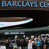 The demonstration finally reaches the rusty monument to greed -- Barclays Center - the crime scene.