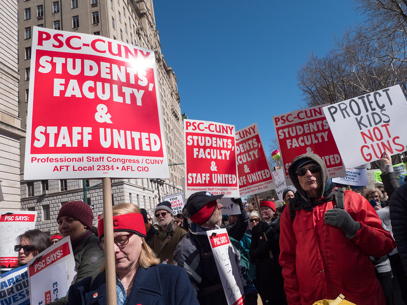 The Professional Staff Congress of CUNY had a large and vocal contingent to the march.