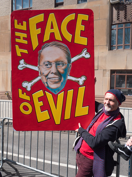 Not a nice man: Wayne LaPierre of the NRA. I think the sign has him pegged just right.