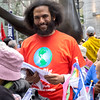 Estevan Bassett-Nembhard, CPNY organizer at the Peace and Planet March for Nuclear Disarmament, Peace and Justice.