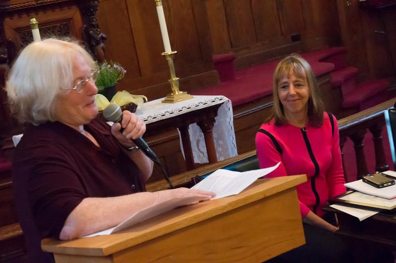 BFP Vice Chair, Carolyn Rusti Eisenberg lauds Medea at last night's awards at the Park Slope United Methodist Church.