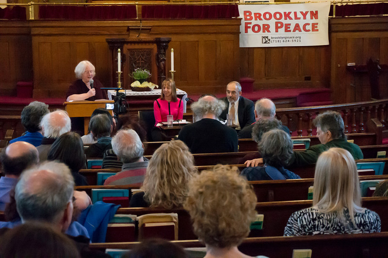 The audience at last night's presentation of the Pathmakers To Peace award from Brooklyn Peace to peace and human rights activist, Medea Benjamin.