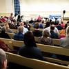 A large crowd of people filled the Friends hall on Schermerhorn Street in Downtown Brooklyn to listen to Medea Benjamin.