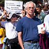 Ed Goldman was handing out flyers for Brooklyn For Peace. They connected the climate crisis and endless wars and militarism, both of which threaten life on earth.