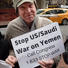 The protest, urging Senator Schumer to sign on to a pending bill in Congress that would halt U.S. weapons sales to Saudi Arabia, was attended by a substantial number of people, given the short notice.