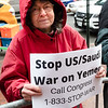 Eleanor Preiss, of Brooklyn For Peace,carried a sign asking people to call Congress to stop the war against the people of Yemen.
