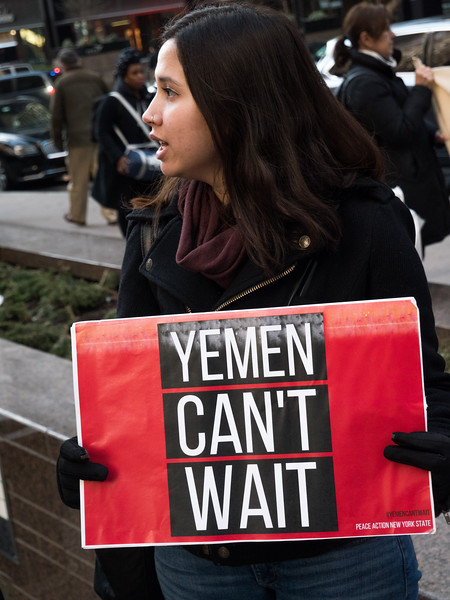 Amy Rubno, Grass Roots Coordinator for Peace Action, NYS, carries a sign that sums it all up. Twenty-thousand dead after three years of horrific bombing and blockading of its port, Yemen is now the world's worst humanitarian crisis. cholera stalks the land and hunger affects millions of Yemeni people. Many are on the brink of starvation, particularly young children. Yemen can't wait!