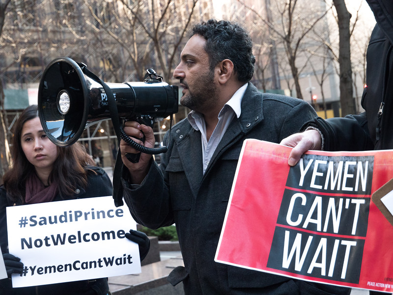 "The next speaker, ​Abdul Alradi, Yemeni Ministry immigrant Affairs Senior Advisor, led the crowd in changs: ""Stop the bombing! Saudi Prince not welcome!"""