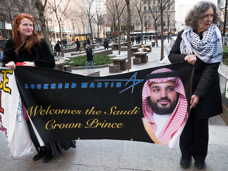 Mohammed bin Salman, is in town to meet with corporate leaders including one of the U.S.'s leading weapons manufacturer and chief merchant of death, Lockheed Martin. The U.S. Senate narrowly defeated a bil by Bernie Sanders that would end  arms sales by the U.S. to Saudi Arabia as long as the war continues. The protest marked the third anniversary of this horrible and crimnal war.