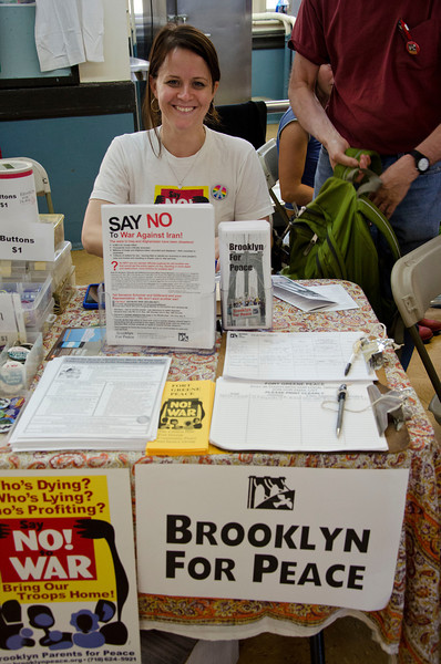 Melissa Corbett at the BFP table at the Brooklyn Food Conference, May 12, 2012, Brooklyn Tech HS.