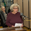 Veteran activist, Joan Pleune, addresses the aidence with both wit and passion.