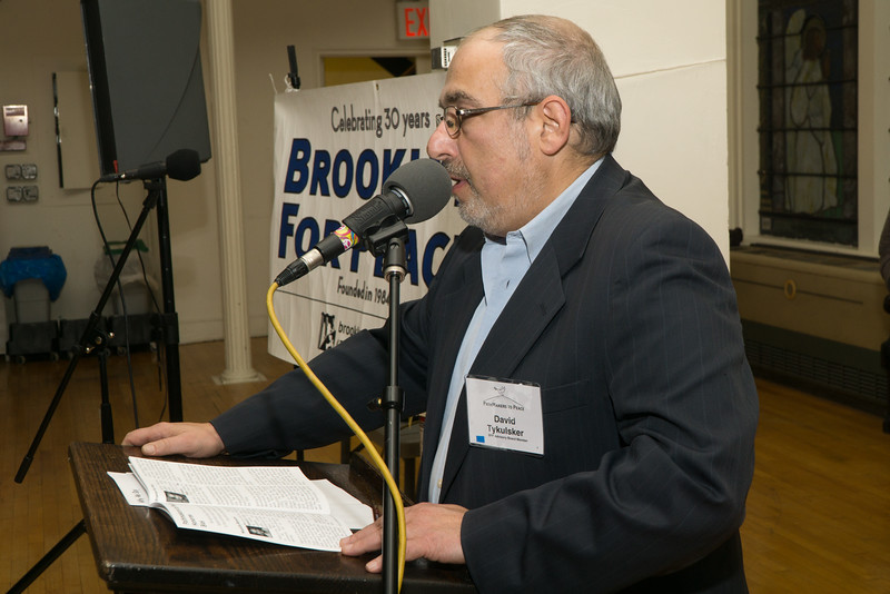 David Tykulsker introduces the first honoree. David is Vice-Chair of Brooklyn For Peace.