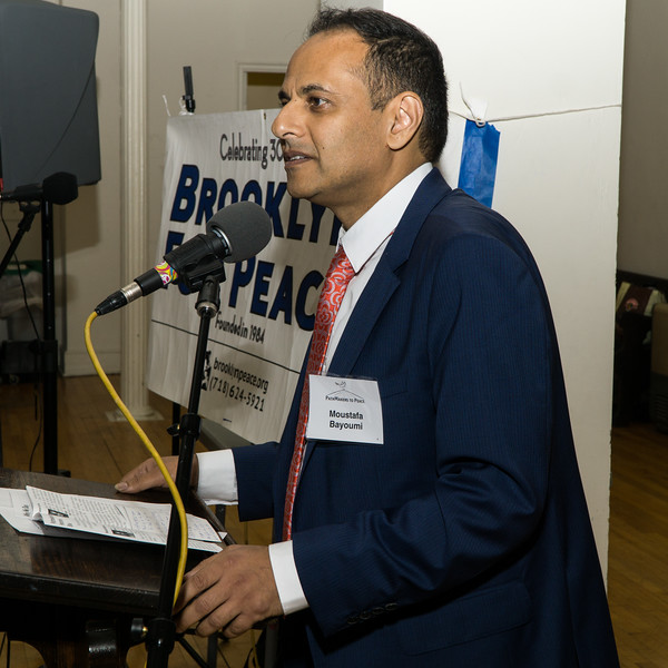 "The evening's first honoree: professor of English at Brooklyn College Moustafa Bayoumi. He has been a leader in addressing the impact of the ""War on Terror"" on the Muslim-American community and on civil liberties."