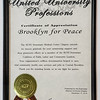 This is the plaque presented to Brooklyn For Peace.<br /> CLICK the picture to see it larger.