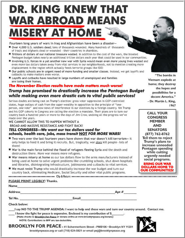 """The flyer that Brooklyn For Peace members distributed. You can view it or download it <a href=""""https://drive.google.com/open?id=0BytyVxJytH1QcmVpNklwdTNtYkk"""" target=""""blank""""><b>HERE.</b></a>"""