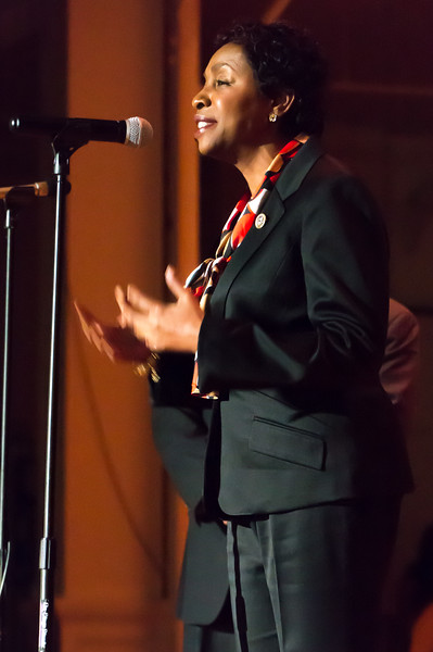 Our Congress member, Yvette Clarke, addressed the event with her usual grace and warmth. She received the appreciation of the audience when she said she had to abstain from attending Trump's inauguration because of his tweeted insults to the civil rights icon, John Lewis.