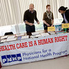 The tables at the Peace Fair represented a wide variety of progressive groups, including this one from the Physicians for a National Health Program.