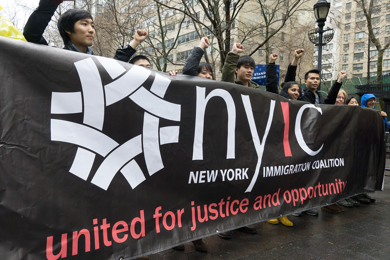 The initiators of today's march: The New York CImmigration Coalition.