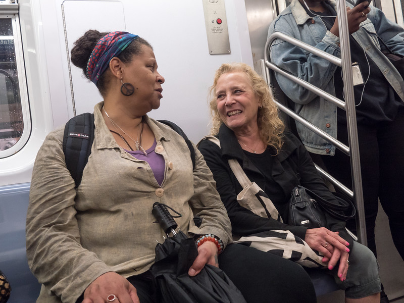 Some fun times on the way home from the march: Veronica Nunn and Stacey Weinstein on the subway.