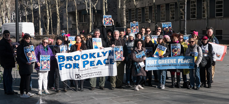 A contingent of Brooklyn marchers, under the banners of Brooklyn For Peace and Fort Greene Peace.