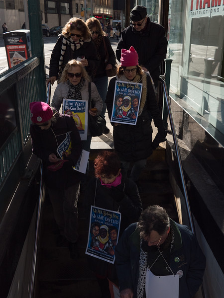 Down we go into a hole in the ground. Our destination: the NYC Women's March in Manhattan.