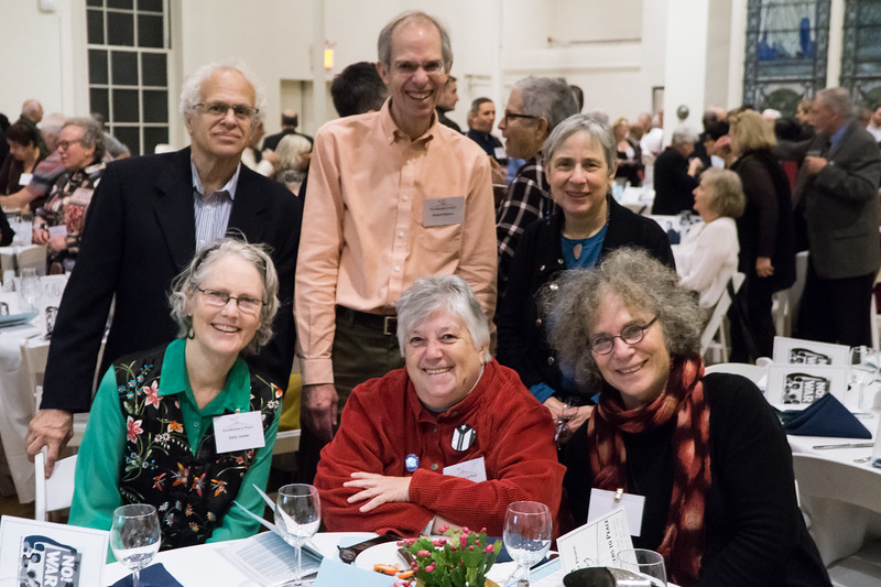 One of our Pathmakers To Peace, Leslie Cagan (in red), surrounded by friends.