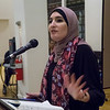 Linda Sarsour, one of the evening's honorees, told how she admired the roomful of peace activists for blazing a trail. She spoke, to great appreciation from the audience, of the current climate of war threats, Islamaphobia and hate and called on all different currents of progressive activists to unite to defeat the Trump threat.