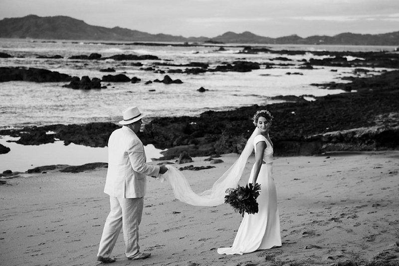 Holly & Luke's Cala Luna, Tamarindo, Costa Rica wedding. Cala Luna is situated on the stunning and quiet beach of Langosta, Tamarindo. This beautiful eco-chic boutique hotel is a fantastic choice for a wedding. Photos by FunkyTown Photography.