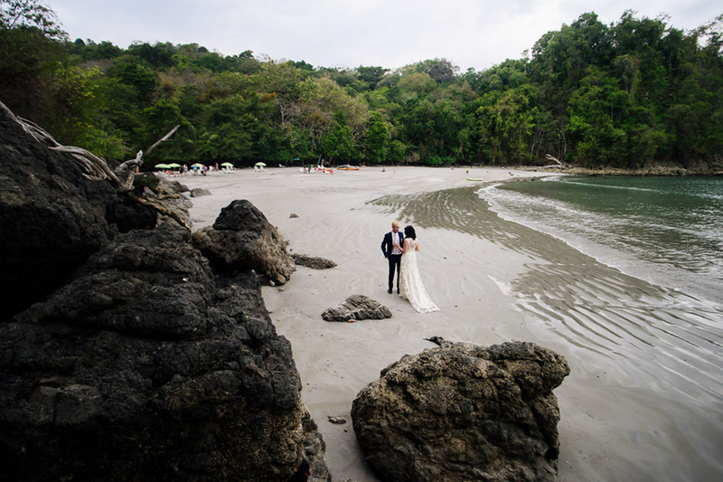 We were lucky to have lower tide for this beach wedding in Manuel Antonio, Costa Rica. During high tide this beach almost completely disappears.