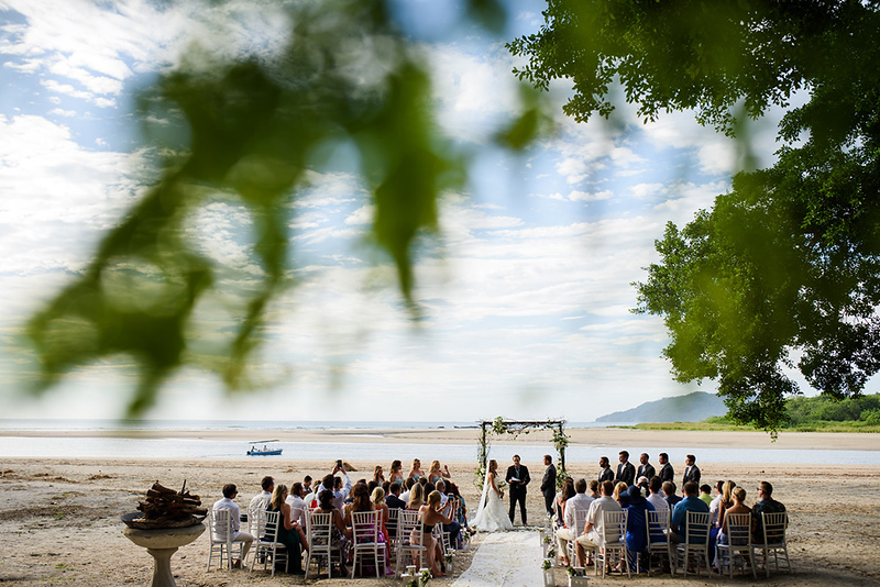Jeadine & Mike's wedding on the beach at Pangas Beach Club in Tamarindo, Costa Rica. Ceremonies typically start at 4:30 and the sun typically sets by 5:30, leaving only about 30 minutes for portraits of the family, wedding party and couple before things become too dark.
