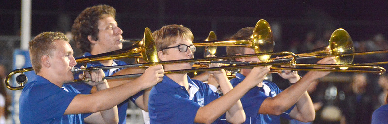 Trombones were part of the fun of the halftime show.