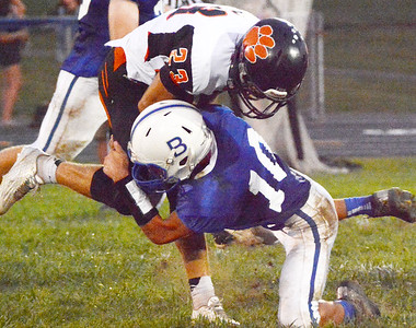 Christopher Aune | The Herald-Tribune In the second half, Batesville Nathan Kirschner got low enough for a solo tackle on Tigers' wide receiver Ben Murphy.