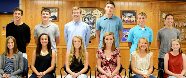 Christopher Aune | The Herald-Tribune The 2016 Batesville High School Homecoming Court Princess candidates are (front left) juniors Haylee Harmeyer and Gabi Garcia, sophomores Sophie Brown and Bea Amberger, and freshmen Ellie Cassidy and Liz Heidlage; and Prince candidates are (back left) juniors Zack Blomer and Ross Harmeyer, sophomores Trey Heidlage and Robert Raver, and freshmen Brayden Linkel and Luke Esser.