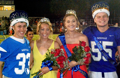 Will Fehlinger | The Herald-Tribune Homecoming 2018 royalty, crowned at halftime of Batesville-Lawrenceburg, are (from left) Prince Brayden Linkel, Princess Ellie Cassidy, Queen Caitlynn Werner and King Adam Bedel.