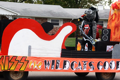 Will Fehlinger | The Herald-Tribune Is that a Bulldog posing as Gene Simmons? 'KISS the Wildcats goodbye' was the winning homecoming float for the Class of 2021.