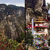 Taktshang Monastery or the Tiger's Nest: This magical monastery is considered the unofficial symbol of Bhutan and is located on the edge of a 1,200 meter granite cliff above the valley. It is believed that in 747 it was established as a sacred place for meditation by Guru Rinpoche, (known as the second Buddha in Bhutan), who came here on a flying tigress and meditated in a cave for 3 months, thereby subduing the demons that were trying to stop the spread of Buddhism in the country. The monastery was built in 1692