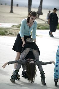women in a skate park,Venice Beach, California, USA